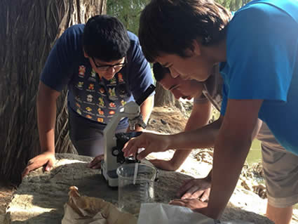 High School Freshmen students working on a science project at Fairmount Park.